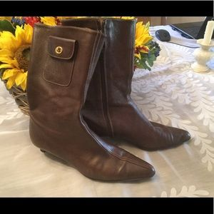 Coach mid-calf brown leather boots, side pocket